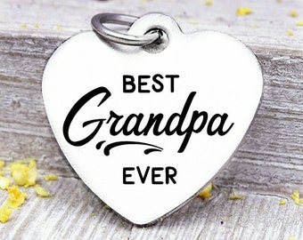 Grandfather Gold Stainless Steel Charm Best Grandpa BFS3610GOLD