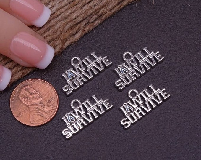 12 pc I will survive, survive, troops, military, charms. Alloy charm ,high quality.Perfect for jewelry making and other DIY projects, box18