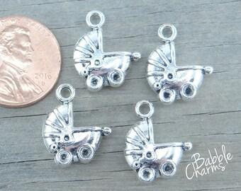 Lot of 5 Spit Happens Bib Charms Dangle Tibetan Silver New Baby Charm Bracelet