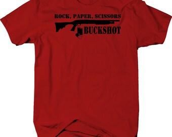 03d3343f Rock Paper Scissors Buckshot Tactical Home Defense Shotgun NRA tshirt