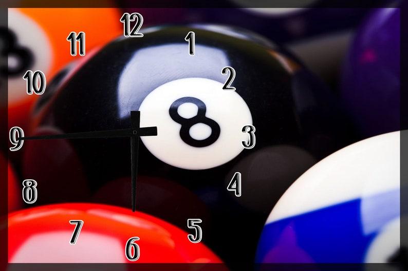Eight Ball Billiard Pool Table Bar Wall Clock