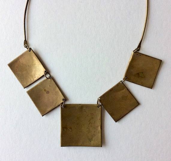 Brutalist Brass and Copper Nail Necklace Choker