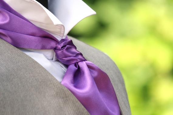 Wedding ascot Cravat Light Purple Violet wedding ascot Gift for him