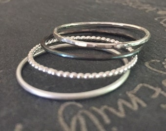 a 4 dainty sterling silver stackable rings, tiny minimalistic silver band  band rings, Sterling Silver Boho rings