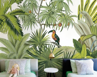 jungle wallpaper etsyhand painted tropical rainforest jungle wallpaper wall mural, palm trees with bird jungle forest wall mural, high quality jungle mural decor