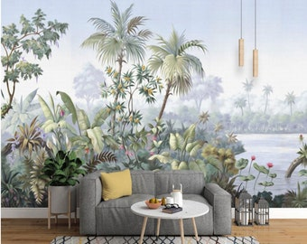 Retro Reminiscent Tropical Rainforest Wallpaper Wall Mural, Jungle Frorest  Trees Scenic Wall Mural,Living Room Bedroom Wallpaper Wall Murals
