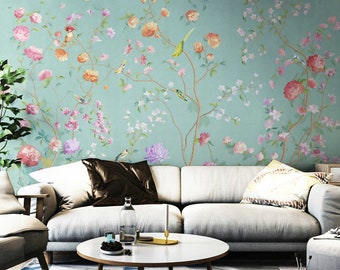 floral wall mural etsyoil painting floral wall mural wallpaper, nature american countryside floral wall mural wall decor, hand painted garden floral wall mural