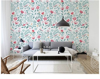 Hand Painted Watercolor Garden Wallpaper Wall Mural Fresh | Etsy