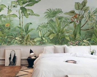 jungle wall mural etsyhand painted oil painting tropical plants wallpaper wall mural, rainforest trees plants wall mural, high quality scenic jungle wall mural