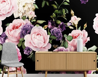 Dark floral wallpaper etsy dark floral wallpaper wall murals pink purple roses green leaves wall stickers wall decals wall decor wall art mightylinksfo