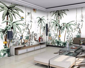 jungle wallpaper etsyhand painted jungle plants wallpaper wall mural, jungle with parrots animals wall mural, rainforest tropical plants wall mural