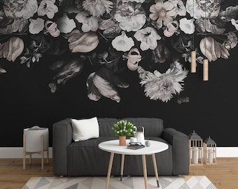 Floral wallpaper etsy dark color vintage black and white floral wallpaper wall murals oil painting dutch victorian flowers wallpaper big large flower wall decor mightylinksfo