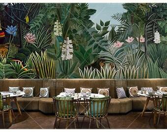 jungle wallpaper etsyoil painting rainforest tropical jungle forest trees wallpaper wall mural, tropical jungle plants with flower wall muralfor restaurant hotel