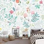 Hand bemalt Aquarell Garten Tapete Wandbild, frische kleine Blumen  Wand-Wandbilder, Kinderzimmer Mädchen Schlafzimmer Wohnzimmer Tapete
