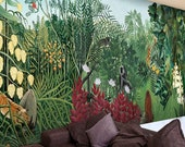 Rainforest Jungle Plants Tropical Wallpaper Wall Mural, Tropical Plants with Moneys Animals Wall Mural, hIgh Quality Hand Painted Wall Decor