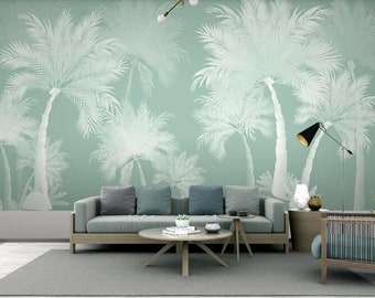 Three Naughty Monkeys Wall Mural Dark Blue Background Coconut Palm Trees Wall Mural Living or Dinning Room Wall Mural Home Decor