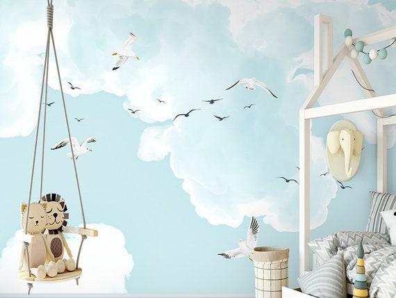 Schöne Karikatur Wolken Kinder Kinderzimmer Tapete Wandbild, von Hand  bemalt Kinder Wolken Möwe Wandbild, Kinderzimmer Cartoon Wand Wandbild