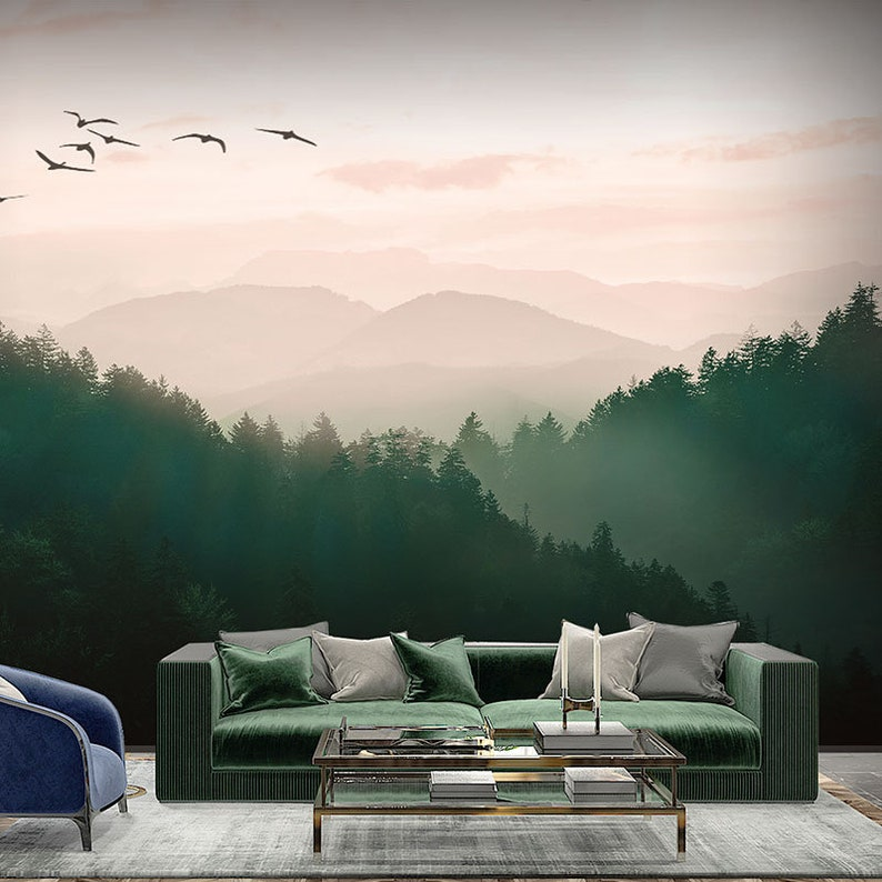 Oil Painting Mountains With Forests Landscape Wallpaper Wall Mural Foggy Mountains With Green Forests Scenic Landscape Wall Mural Decor