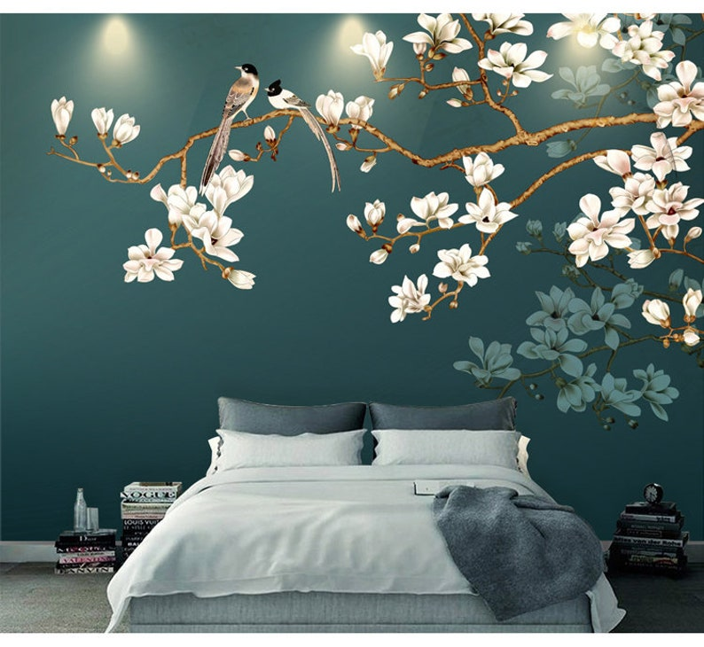Hand Painting Hanging Branch Tree Flowers And Birds Wallpaper Wall Mural Simple Elegant White Ivory Flowers Floral Wall Mural Wall Art