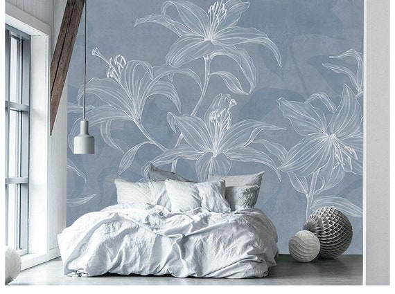 Simple Creative Lily Wallpaper Wall Murals Living Room Modern Wall Painting Brown Blue Nordic Art Flower Wall Decals Wall Stickers