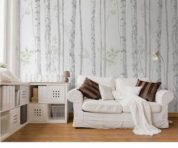 Hand Painted Grey Birch Trees Wallpaper Wall Mural Simple Modern Grey Birch Wall Mural Bedroom Living Room Birch Wall Mural Wall Decor