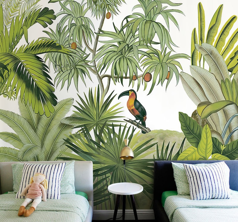 hand painted tropical rainforest jungle wallpaper wall mural etsyimage 0