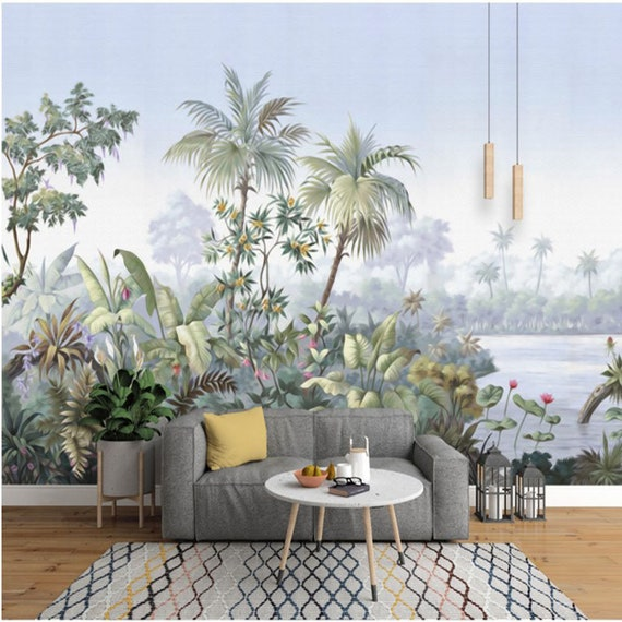 Retro Reminiscent Tropical Rainforest Wallpaper Wall Mural Etsy