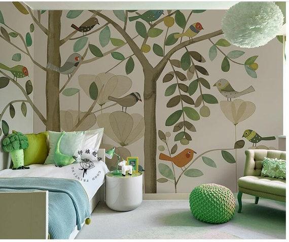 Aquarell, Aquarell Baum Kinderzimmer Tapete Wandbild, von Hand bemalt  Cartoon Bäume mit Vögeln Wand-Wandbilder, Kindergarten Kinder Tapete  Wand-Dekor