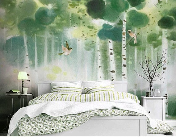Oil Painting Emerald Green Trees Forest Wallpaper Wall Mueals Oil Painting Abstract Trees Forest with Flying Bird Wall Mural Wall Decor