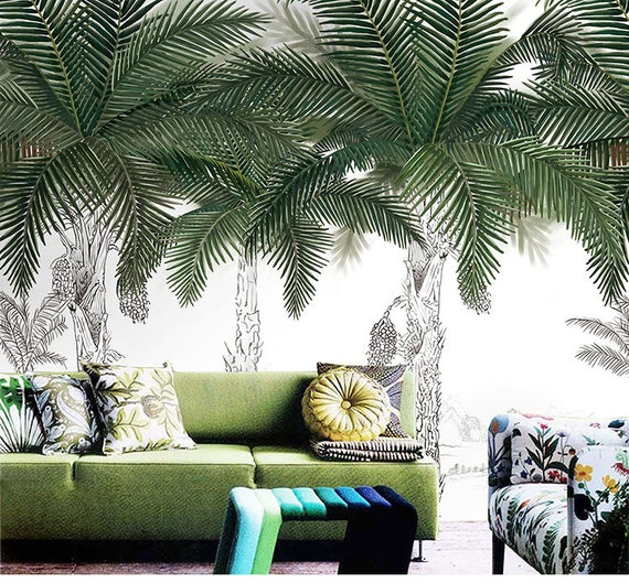 Hand Painted Palm Trees Wallpaper Wall Mural Brush Painted Palm Trees Leaves Wall Mural Bedroom Living Room Tropical Palm Trees Wall Mural