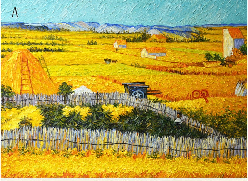 Oil Painting Decor Inspired by Van Gogh/'s Oil Painting in Wheat Field Wall Mural Wallpaper Abstract Autumn Harvest Wallpaper Wall mural