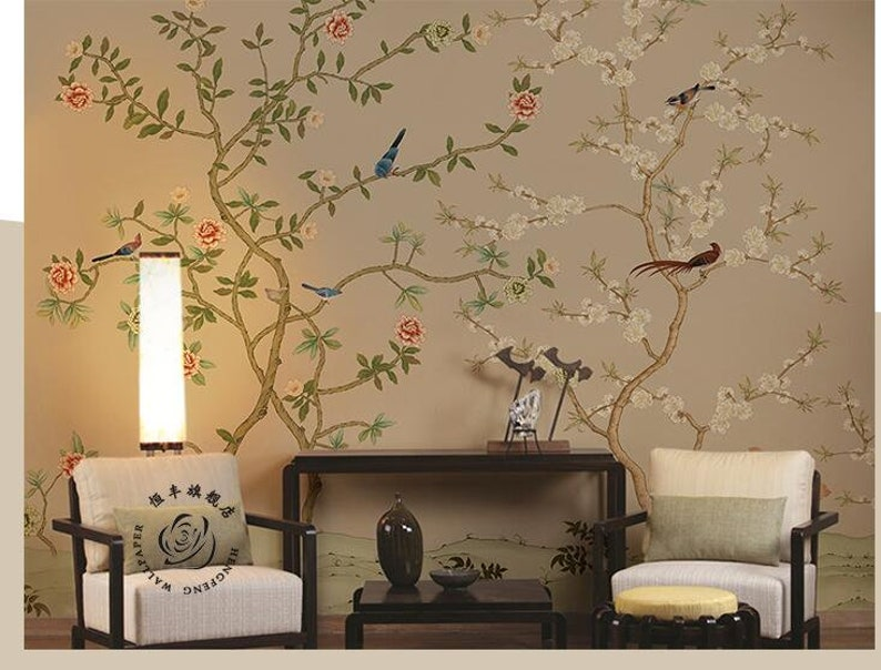Hand Painted Cherry Blossom Trees Wallpaper Wall Mural