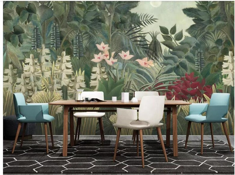 Oil Painting Jungle Forest Trees Wallpaper Wall Mural Dark Green Jungle Forest Wall Mural Hand Painted Oil Painting Jungle Forest Mural