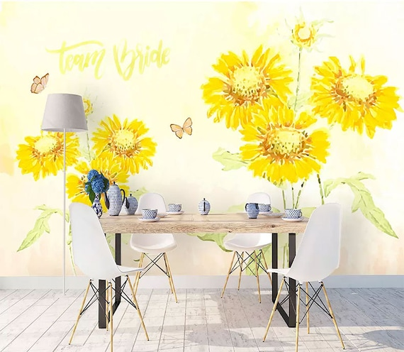 Watercolor Yellow Sunflower Floral Wallpaper Wall Murals