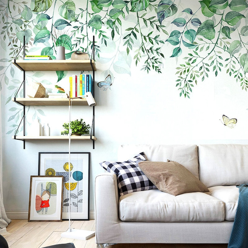 hanging spring green leaves wallpaper wall mural fresh vine etsyimage 0
