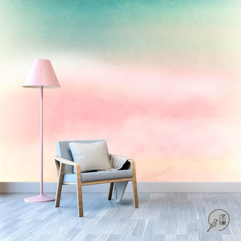 Pittura a olio astratto nuvole rosa wallpaper murale ...