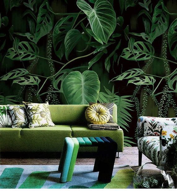Olie Schilderij Van Smaragd Groene Tropische Planten Met Blaadjes Wallpaper Muur Muurschildering Olie Schilderij Tropische Planten Muur