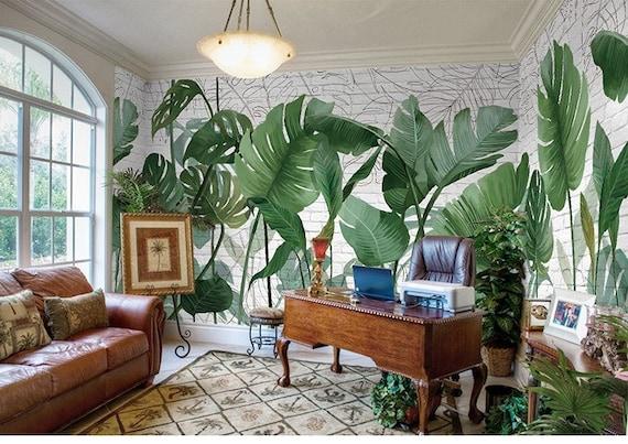 Groene Tropische Regenwoud Wallpaper Wall Muurschildering Hoge Kwaliteit Palm Banana Leaf Muur Muurschildering Wall Decor Kunst Aan De Muur Voor