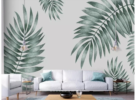 Simple Hand Painted Tropical Leaves Wall Mural Wallpaper Palm Etsy 4.peel and stick can only use to glass surface, painted wall, ceramic surface, wood surface, plastic plate surface… simple hand painted tropical leaves wall mural wallpaper palm leaves wall mural wallpaper palm leaf wall mural wall decor