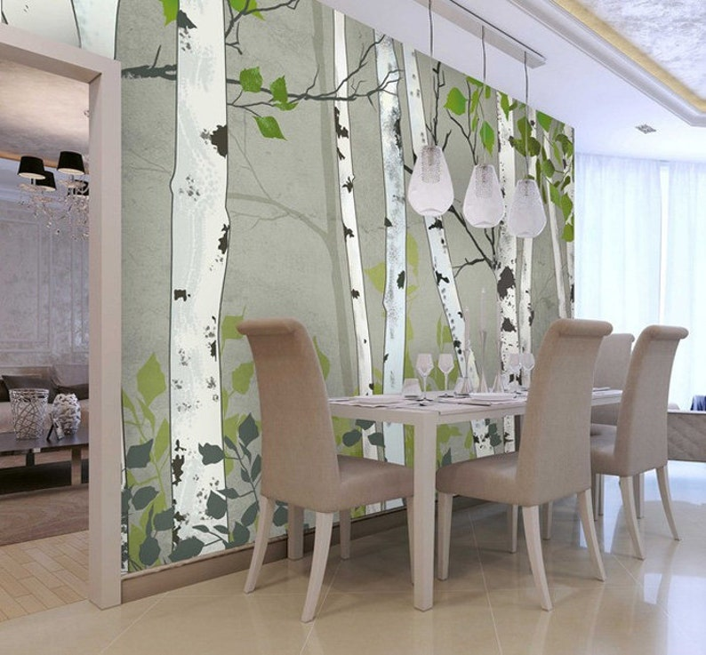 Oil Painting Abstract Birch Trees Wallpaper Wall Mural Hand Painted Design Birch Wall Mural Birch with Green Leaves Birch Wall Mural Decor