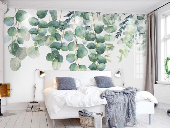 Aquarelle Vigne Vert Foncé Feuille Papier Peint Mur Décoration Murale Peinture Murale Mur De Vigne Vert Printemps Simple Feuilles Aquarelle Mur