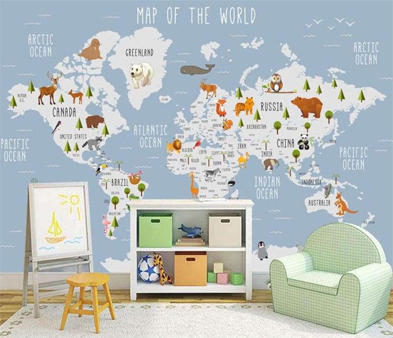 Kids World Map Wallpaper Wall Murals, Animals Kids Children Wall Stickers  Wall Decals, Cartoon World Map Nursery Kids Bedroom Wall Decor