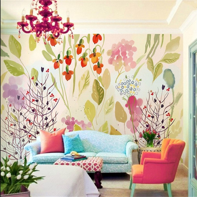 Hand Painted Watercolor Warm Color Floral Wallpaper Colorful Etsy