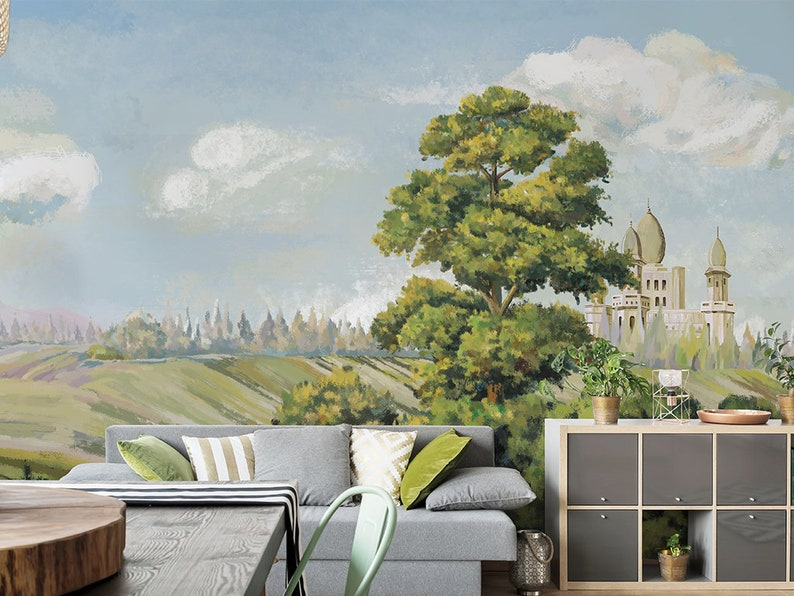 Hand Painted Oil Painting Scenery Wallpaper Wall Mural Jungle Froests With Cloudy Scenic Wall Mural Living Room Bedroom Wallpaper