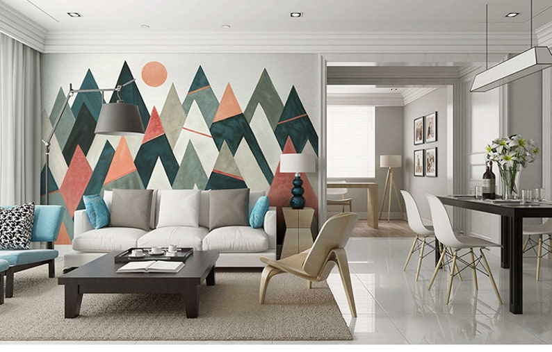 Geometric Mountains with Sun Geometric Wallpaper Wall Mural Modern Simple Design with Lines Space Triangle Geometric Wall Mural Wall Decor
