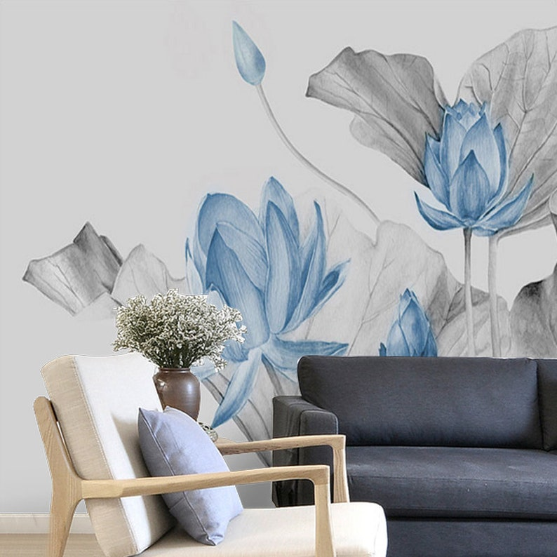 Abstract Ink Blue Lotus Floral Wallpaper Wall Mural Lotus Etsy