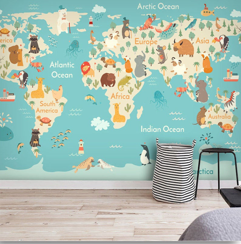 World Map Cartoon Animals Kids Nursery Wallpaper Wall Mural, Hand Painted  Children Blue World Map Wall Mural, Children Room World Mural