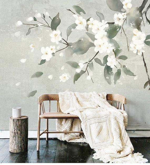 Watercolor Simple Elegant Wall Murals Wallpaper Wall Decor, Wall Art For  Bedroom/Living Room, White Flowers Tree Wallpaper Wall Murals