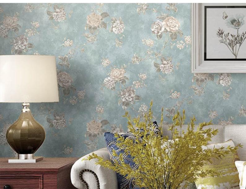 20.8x393.7 Inches  0.53Wx10L Meters Wallpaper Vintage Garden Non-woven Wallpaper Nostalgic Small Floral European Style Wallpaper