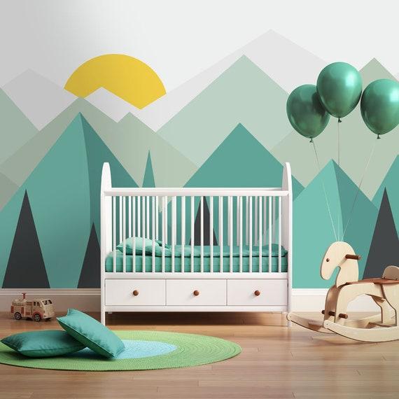 Hand Painted Blue Geometric Mountains Nursery Wallpaper Wall Mural Geometric Mountains with Sun Kids Children Room Wall Mural